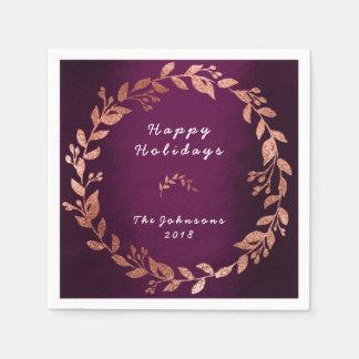 Purple Plum Rose Pink Gold Wedding Holidays Disposable Serviettes