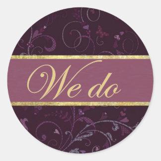 Purple & Plum Wedding Vows Sticker/Seal Round Sticker