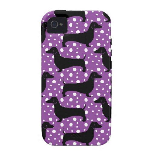 Purple Polka Dachshunds Vibe iPhone 4 Covers