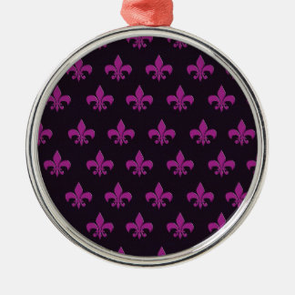 Purple polka dot and shape design Silver-Colored round decoration