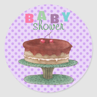 Purple Polka Dot & Cake Baby Shower Sticker/seal Round Sticker