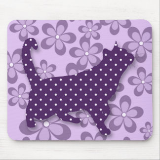 Purple Polka Dot Cat with Flower Power Theme Mouse Pad