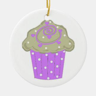 Purple Polka Dot Cupcake Ceramic Ornament
