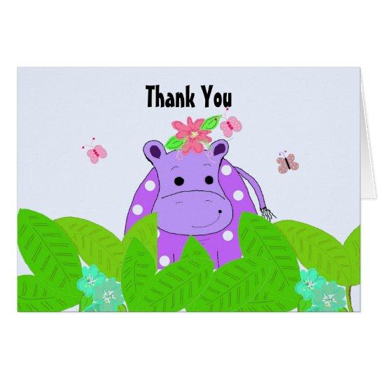 Purple Polka Dot Hippo Thank You Card