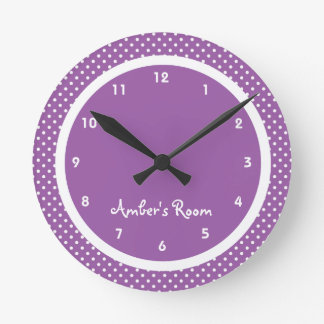 Purple Polka Dot Kid's Bedroom Wall Clock