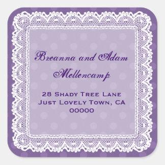 Purple Polka Dot Lacy Address Labels Sticker