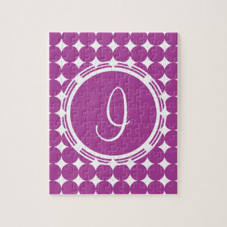 Purple Polka Dot Monogram Jigsaw Puzzle