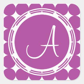 Purple Polka Dot Monogram Square Sticker