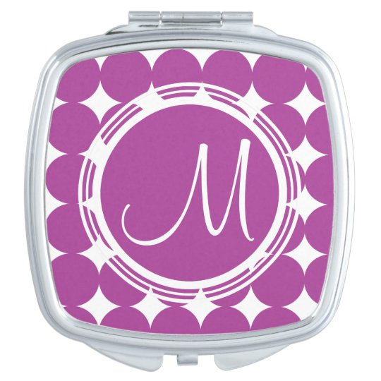 Purple Polka Dot Monogram Vanity Mirrors