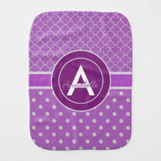 Purple Polka Dot Quatrefoil Burp Cloth