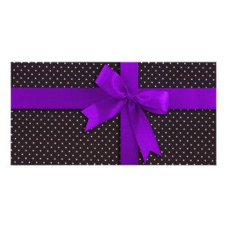 Purple Polka Dot Ribbon Photo Card