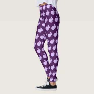 Purple Polka Dot Silhouette Bunny Rabbit Leggings