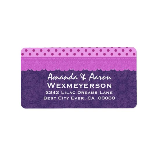 Purple Polka Dots and Lace Wedding Paper Product 1 Address Label