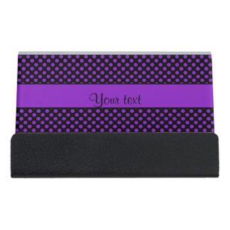 Purple Polka Dots Desk Business Card Holder