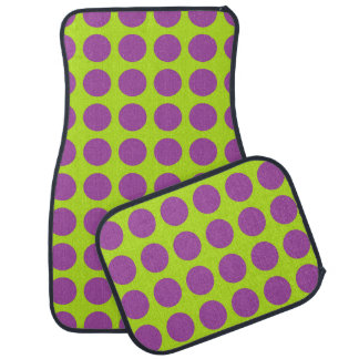 Purple Polka Dots Lime Green Car Mat