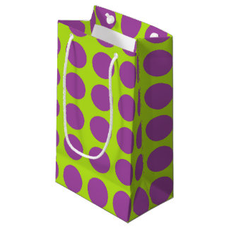 Purple Polka Dots Lime Green Small Gift Bag