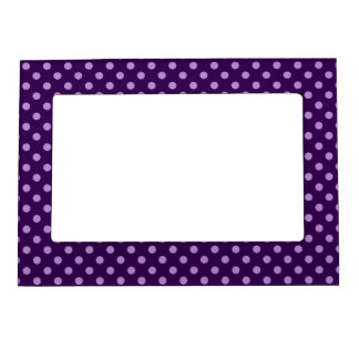 Purple polka dots magnetic picture frame