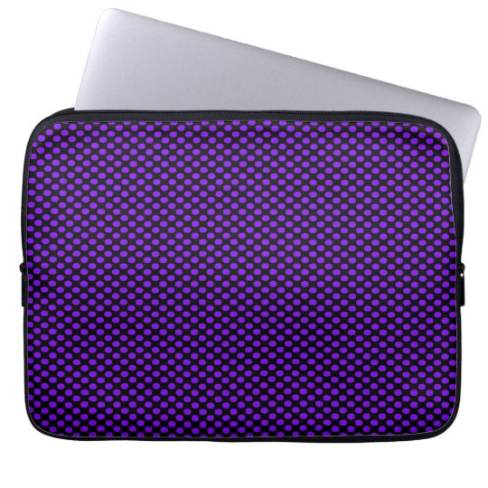 Purple Polka Dots on Black Laptop Sleeve