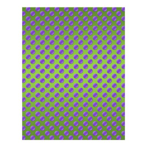 Purple polka dots on green background flyer design
