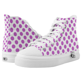 Purple polka dots pattern high tops