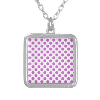 Purple polka dots pattern silver plated necklace