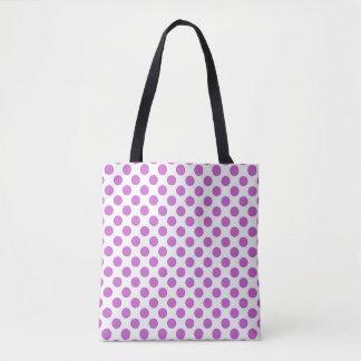 Purple polka dots pattern tote bag