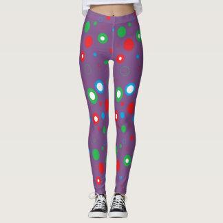 Purple  Polka Dots, Red Green Blue Leggings