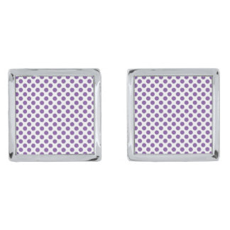 Purple Polka Dots Silver Finish Cuff Links