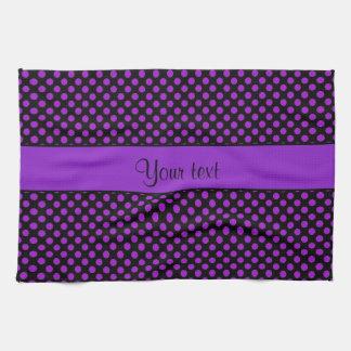 Purple Polka Dots Tea Towel