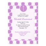 Purple Polkadot Baptism / Christening Invitation