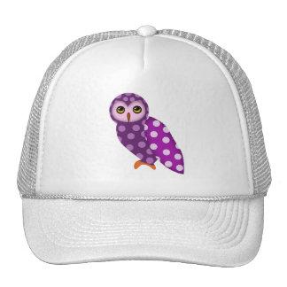Purple Polkadot Cute Owl Hat