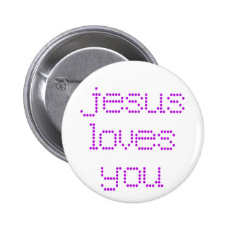 Purple Polkadot Jesus Loves You! 6 Cm Round Badge