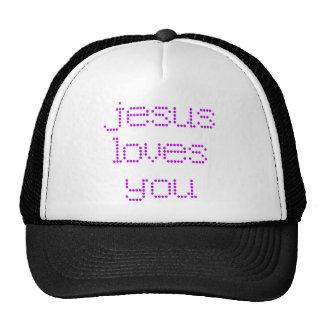 Purple Polkadot Jesus Loves You! Mesh Hats