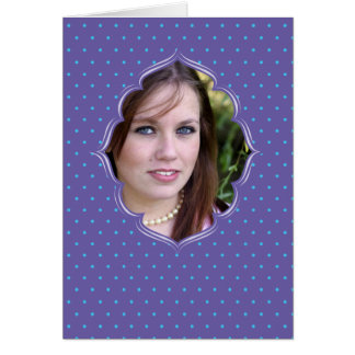 Purple polkadot photo frame card