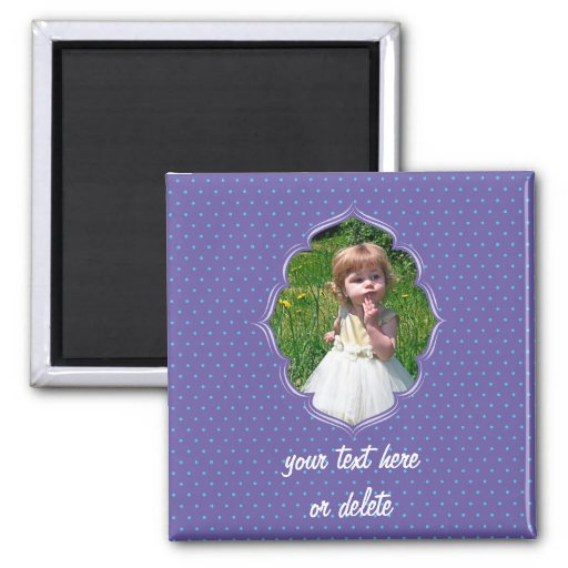 Purple polkadot photo frame magnet