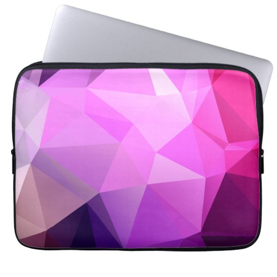 Purple polygonal design laptop sleeve
