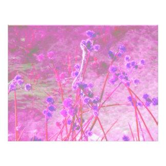 Purple pond plants background full color flyer