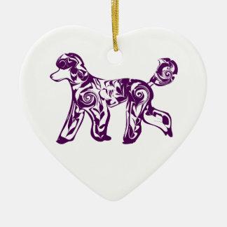 purple poodle ceramic ornament