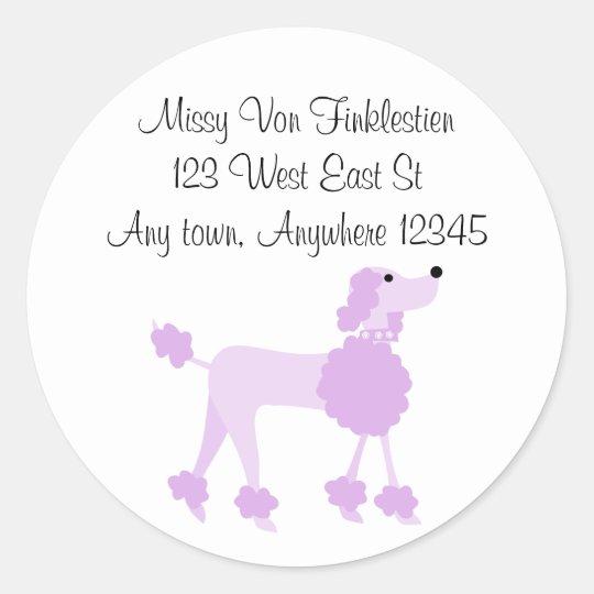 Purple Poodle Classic Round Sticker