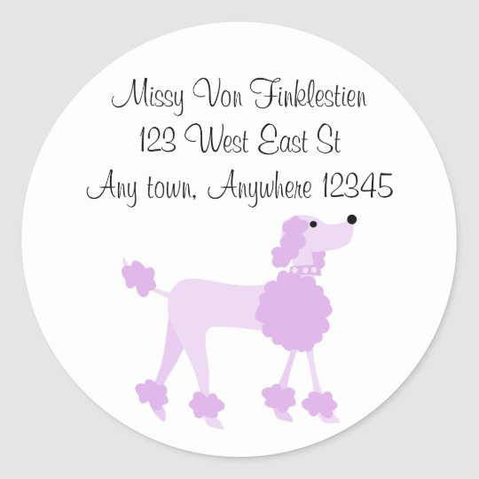 Purple Poodle Round Sticker