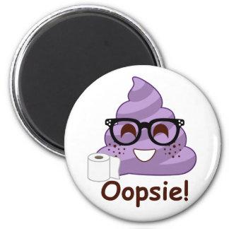 Purple Poop Emoji Oops Magnet