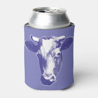 Purple Pop Art Cow Graphic Can Cooler