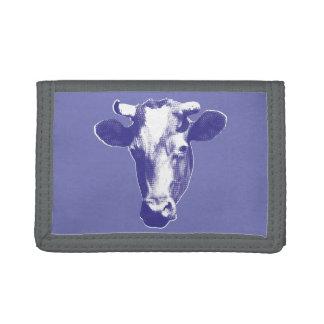 Purple Pop Art Cow Graphic Tri-fold Wallet