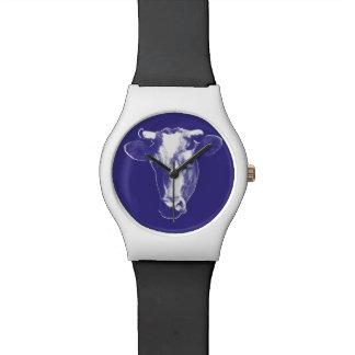Purple Pop Art Cow Graphic Watch