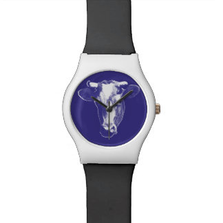Purple Pop Art Cow Watch