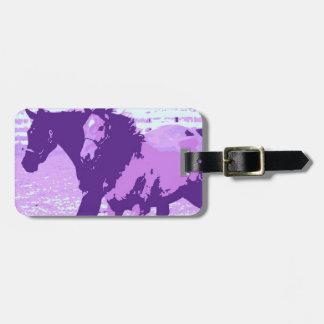 Purple Pop Art Horses Luggage Tag