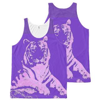 Purple Pop Art Tiger All-Over Print Singlet