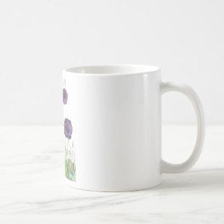 Purple Poppies in the grass Basic White Mug