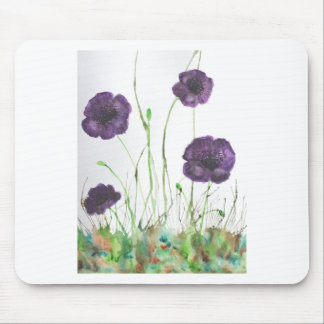 Purple Poppies in the grass Mouse Pad