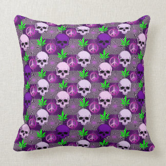 Purple Pot Peace Skulls Cushion